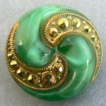 green and gold yin and yang antique button